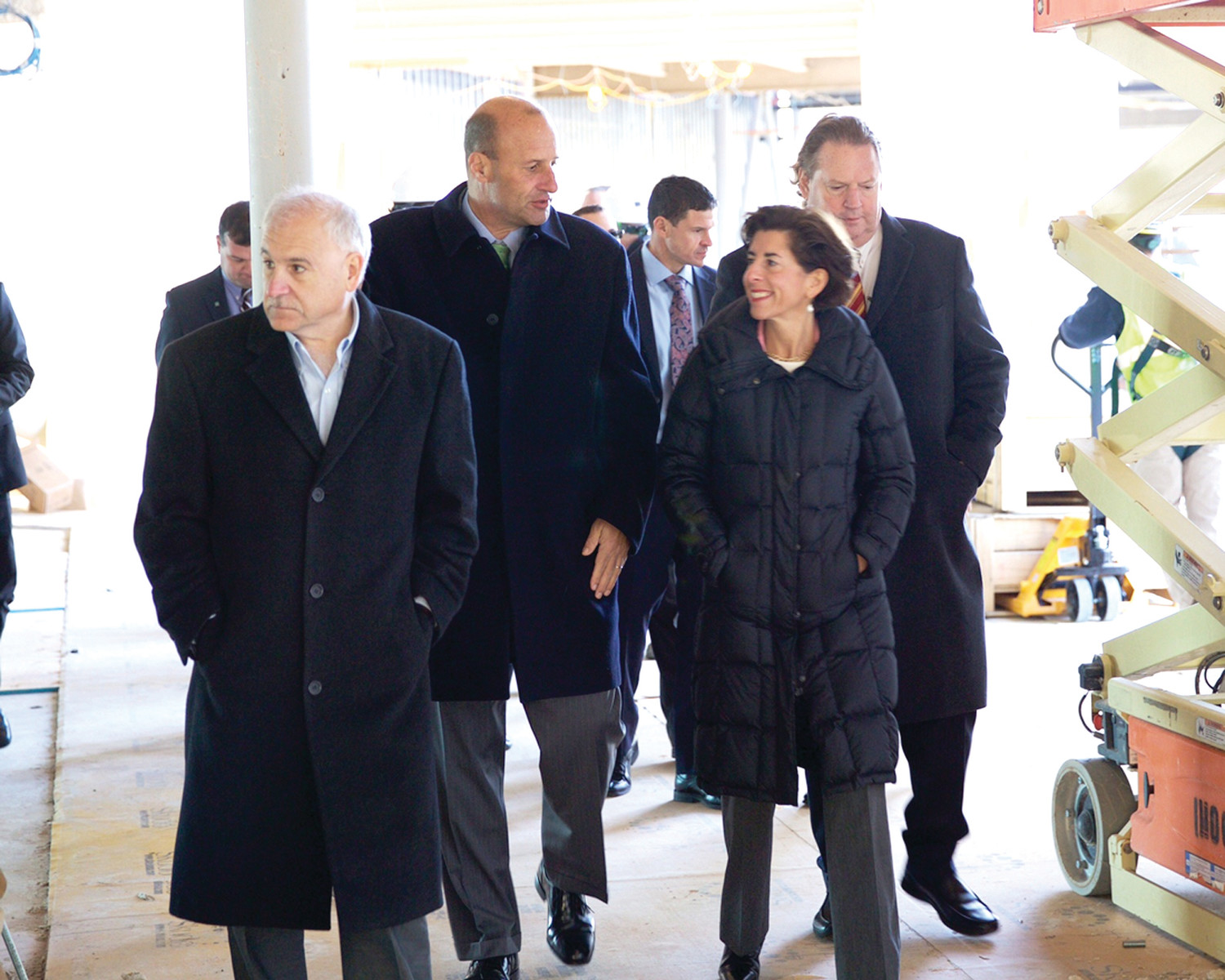 Below, Citizens Bank's Head of Property, Mike Knipper leads Governor Raimondo and Mayor Polisena on a tour of the Citizens Bank Johnston campus site. (Submitted photos)
