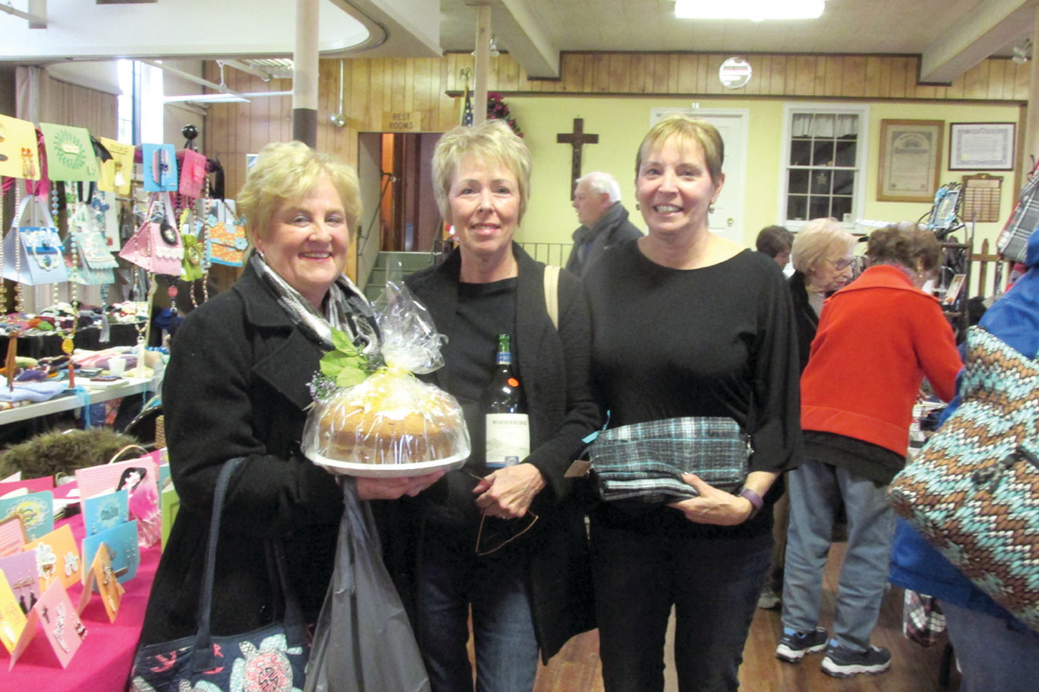 CHAIR'S CORNER: Fran Wilkie (right), enjoys some conversation with friends Sue Marcaccio and Karen Spins