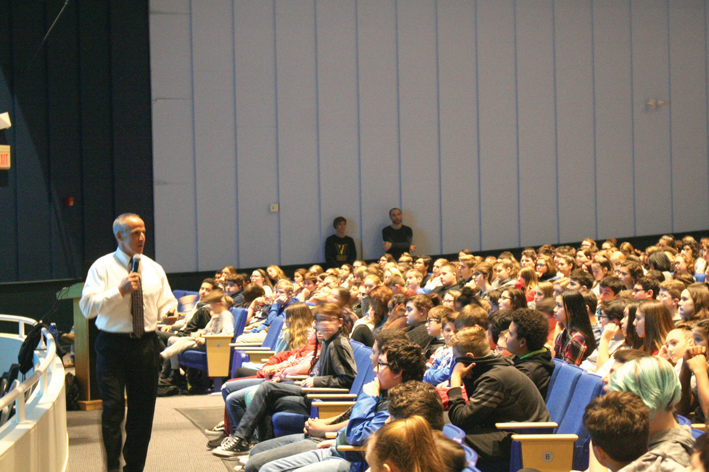 ADDRESSING THE STUDENT NATION: David Neill speaks to the Vets eight grades in the first of two Wednesday assemblies about the dangers of e-cigarettes.