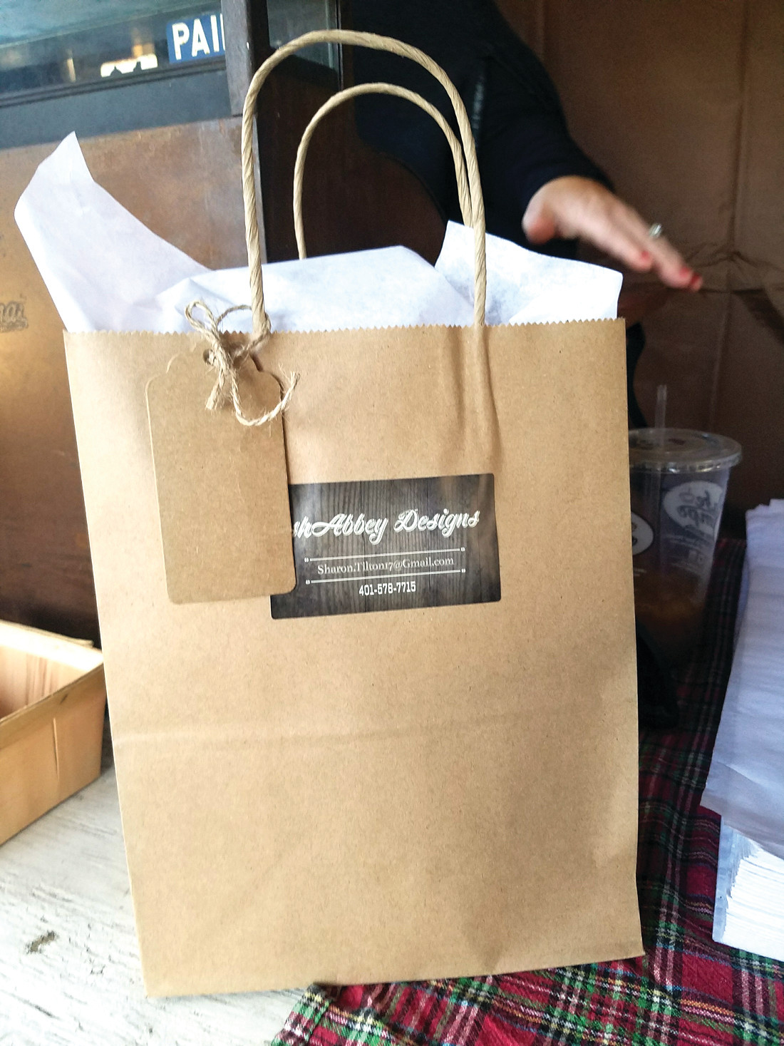 THAT SPECIAL TOUCH: Each item went home with Abbey's Shabbey Designs signature wrapping and gift bags and a thank-you tag.