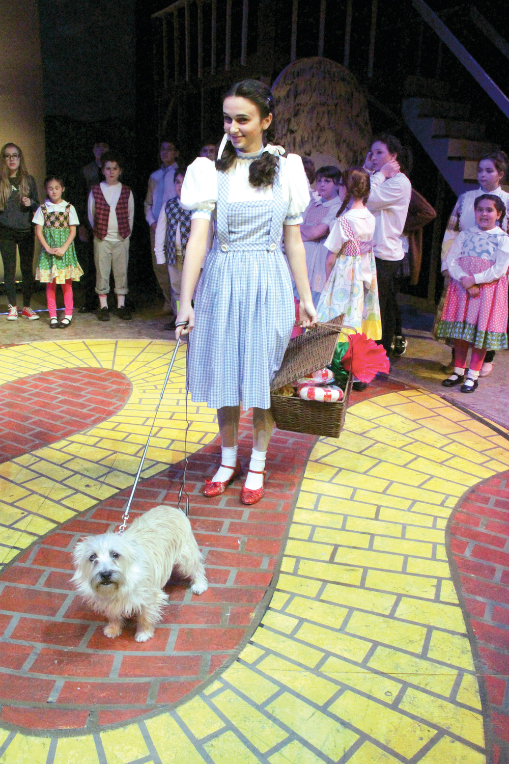 ON THE YELLOW BRICK ROAD: Dorothy, played by Emily Fielding, said in a break from rehearsal Tuesday that she's more scared for the dog in the role of Toto than of her own performance.