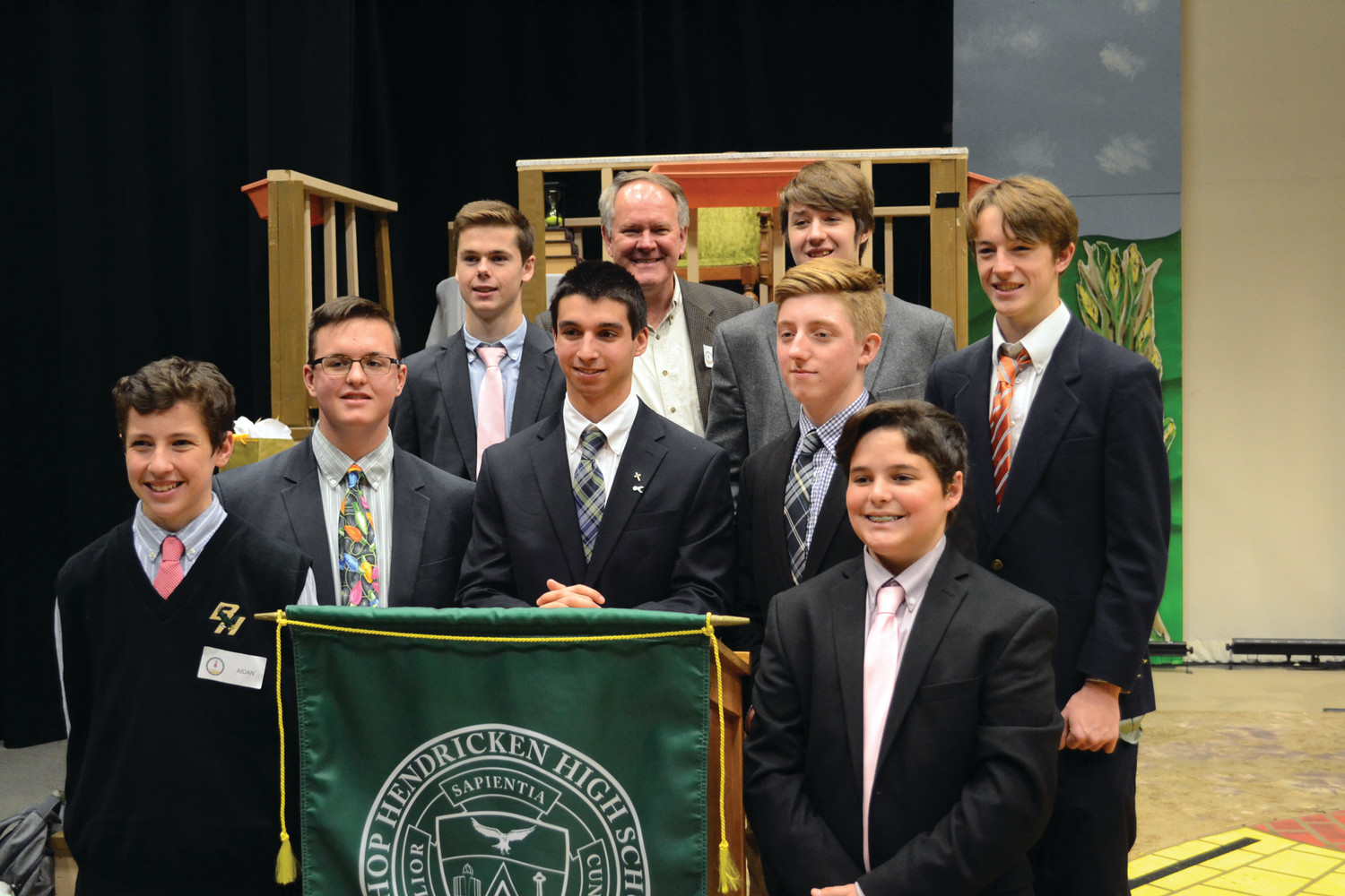 SPACE CADETS: The boys who participated in the Space Chat at Hendricken pose for a photo with Mike Cullen, who facilitated the event.