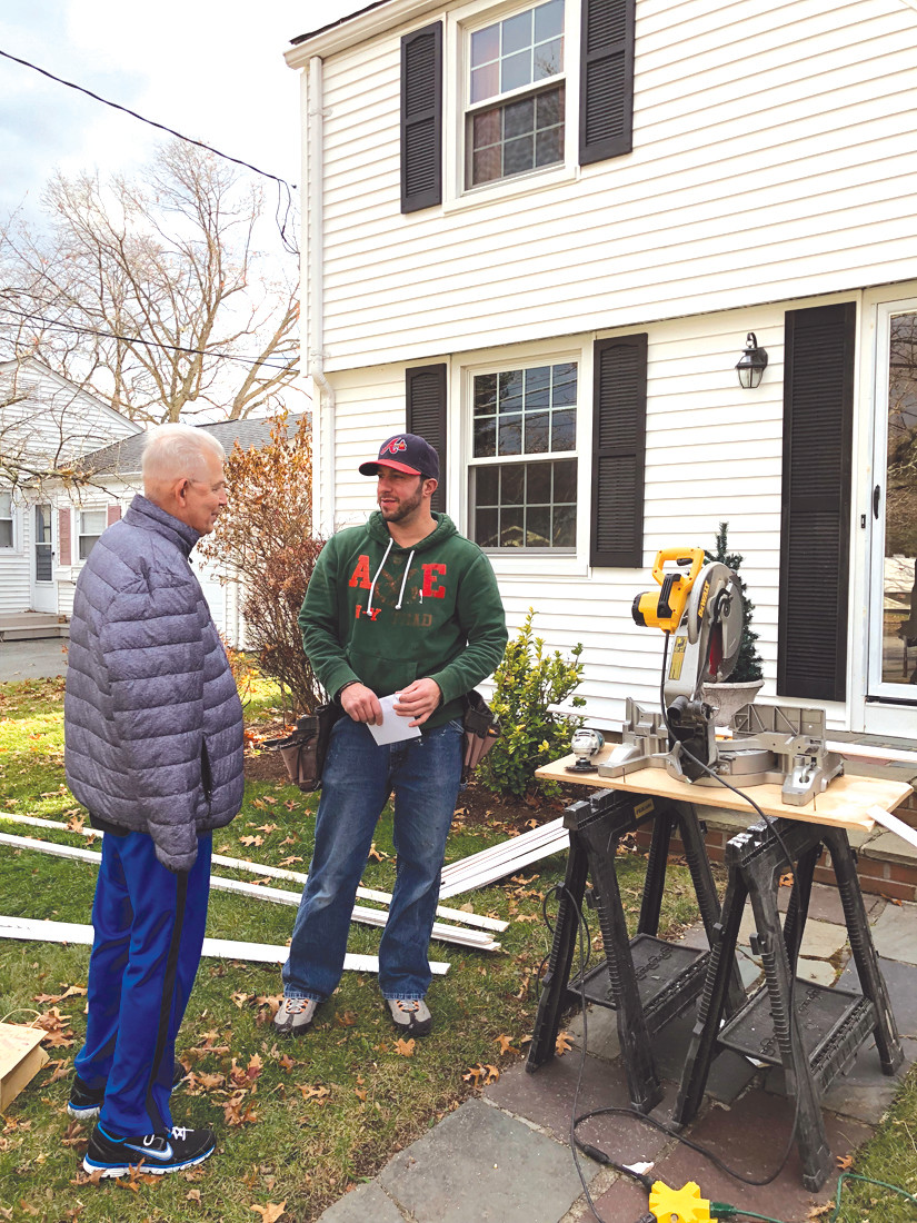 SORRY TO INTERRUPT: Representative Lancia made a stop at Robert DiSalvo's home Saturday during his door-to-door anti-Pawsox campaign. (Submitted photo)