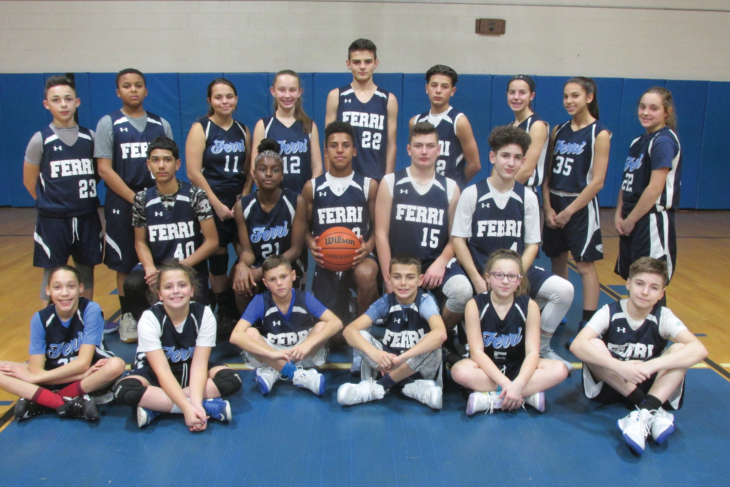 GIANNA'S GROUP: This is the Ferri Blue Squad coached by Gianna Mazzulla in Tuesday's unique scrimmage. (Sun Rise photos by Pete Fontaine)