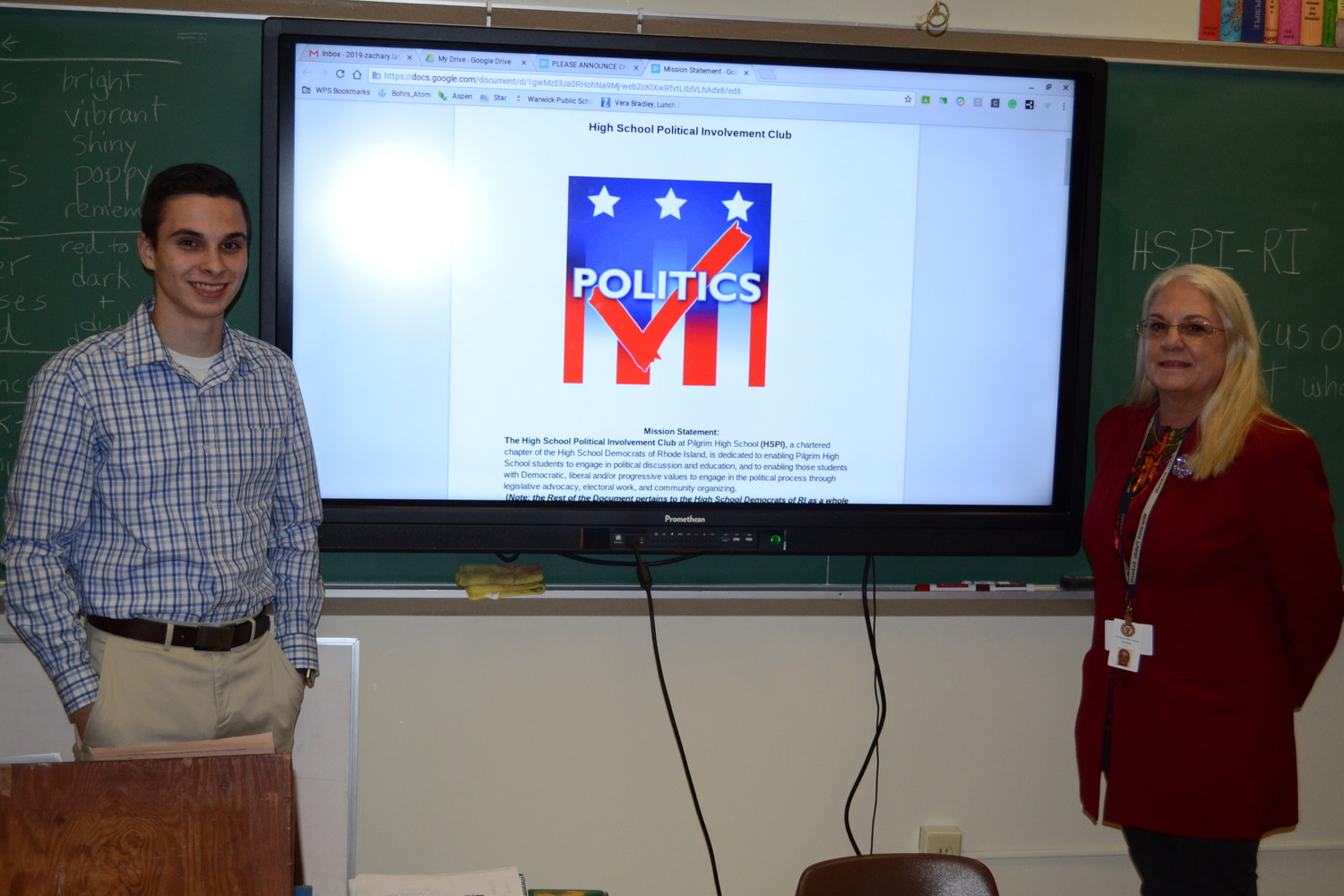 Pilgrim Class of 2019 president Zachary LaFontaine and English teacher Paula Merdink collaborated to start the first Political Involvement Chapter in Warwick.