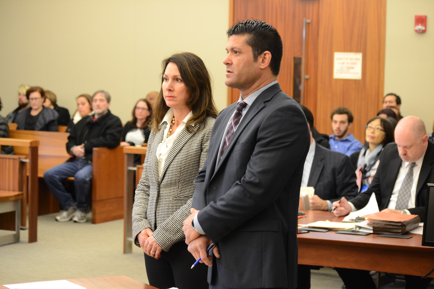 Mercurio during her arraignment in Kent County District Court in December of 2017 with her attorney, Thomas Gulick