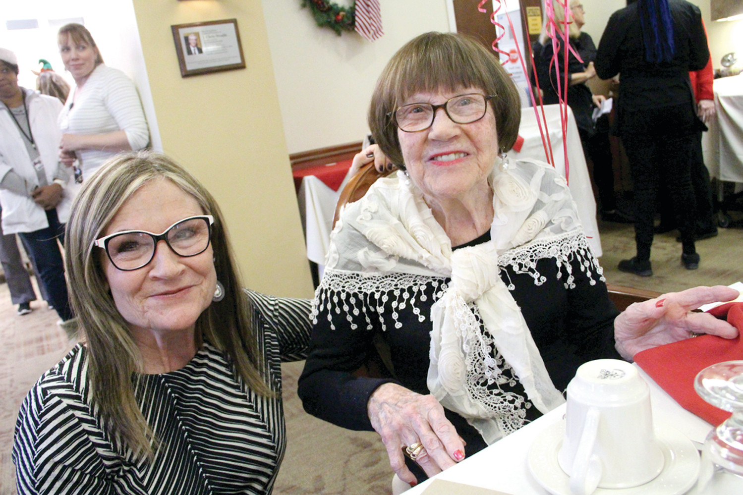 RIGHT AT HOME: Sandi Charland, a nurse at the Scandinavian Home with her mother, Ester Sarafian, who has been a resident at the home for about nine years.