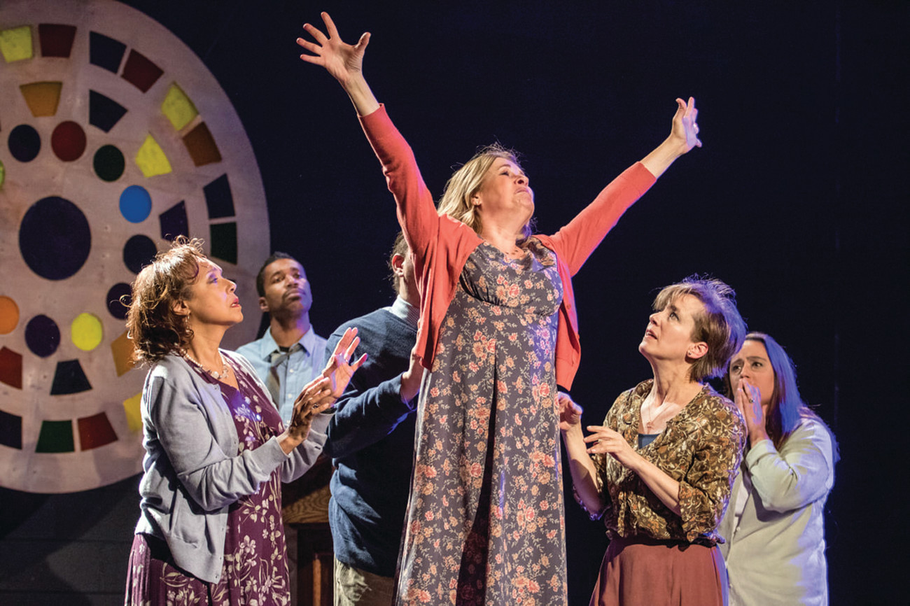 "Pamela Lambert, Phoenyx Williams, Rae Mancini, Milly Massey, and Christine Treglia in ""Church"" by Young Jean Lee, directed by Brien Lang at The Wilbury Theatre Group."