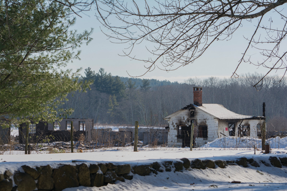 REDUCED TO RUBBLE: The barn on Seven Mile Road, shown in a photo taken Tuesday afternoon, is basically gone after a fire – cause unknown – destroyed it Sunday morning.