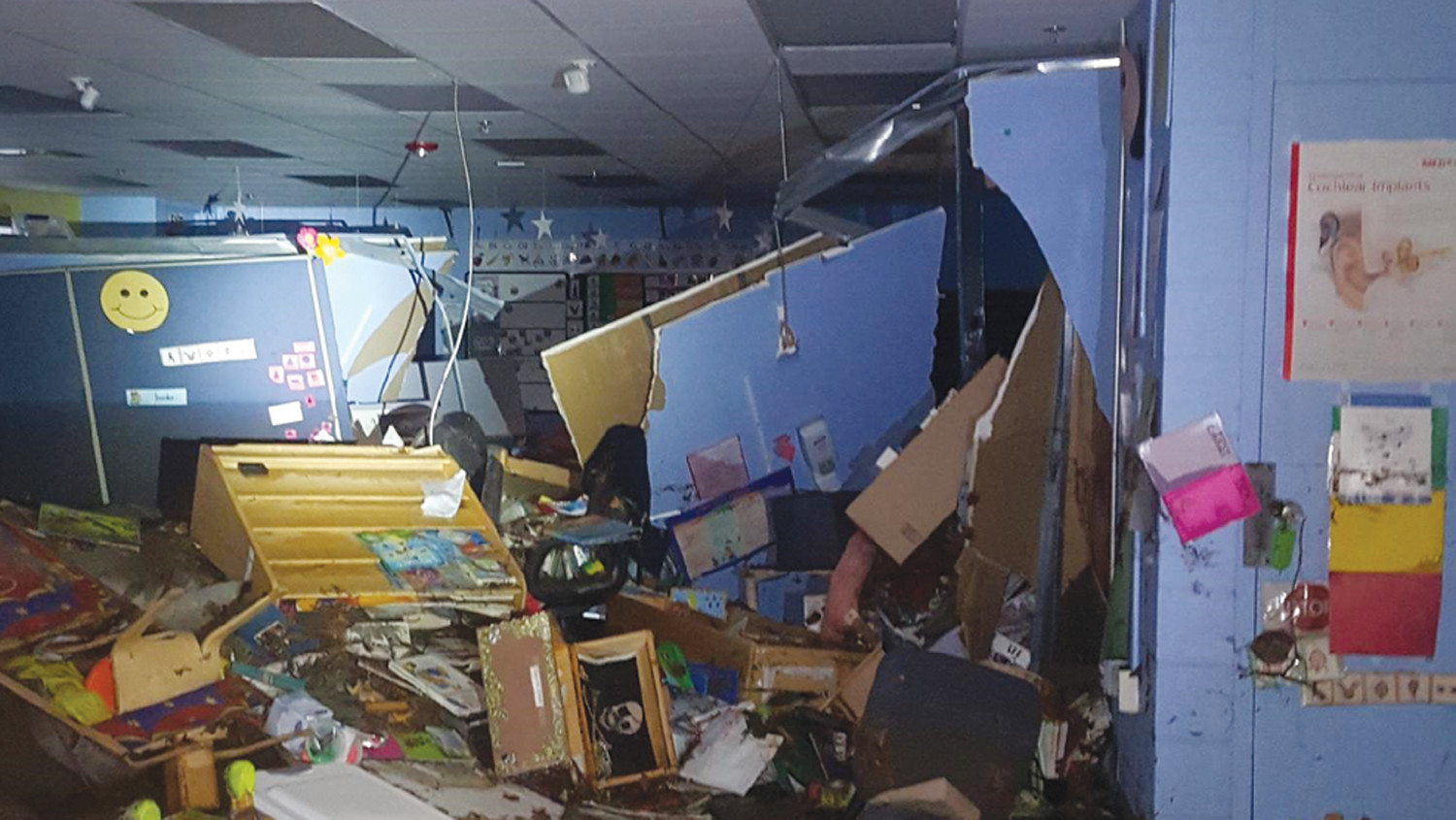 INSIDE LOOK AT THE DAMAGE: The Cranston School Department released this photo of the damage inside one of the classrooms in the basement of Edgewood Highland.