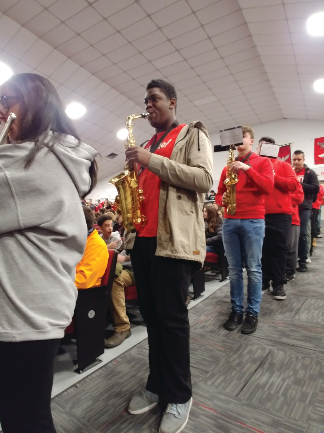 THAT FALCON BAND: Although That Falcon Band could not be on the front steps to greet guests as they often due, they put on a show of pep rally quality for those who gathered in the auditorium for Sunday afternoon's Future Falcon Open House.