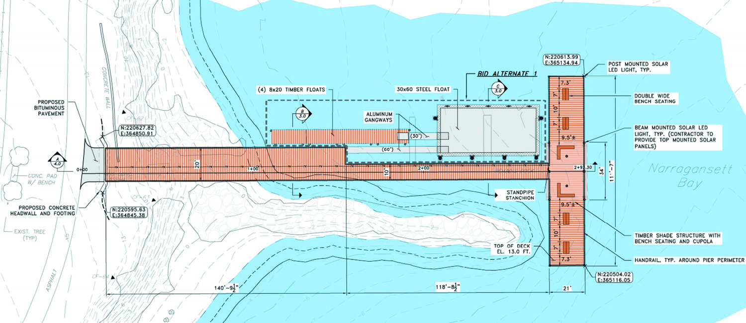 A NICE A-PIER-ANCE: A design plan submitted by DEM shows the size and scope of the proposed pier at Rocky Point, which could become a fisherman's paradise.