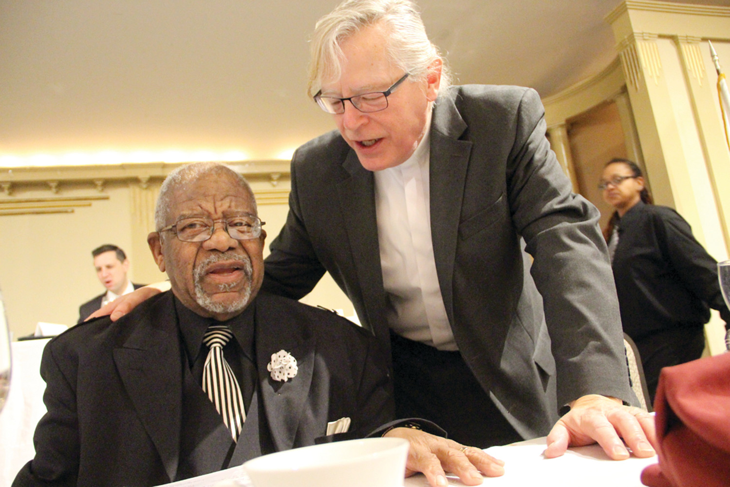 CELEBRATING MLK: Reverend Dr. Sammy Vaughan, past president of the Rhode Island Ministers Alliance, and Rev. Donald Anderson, executive minister of the Rhode Island State Council of Churches, at Monday's breakfast.