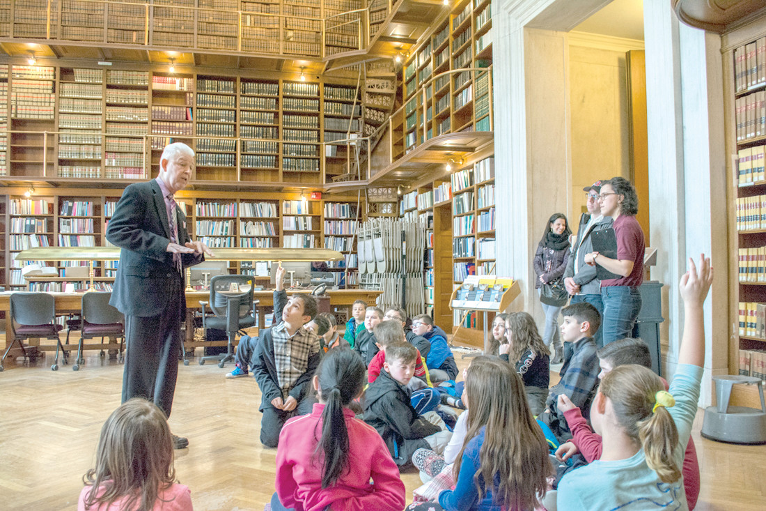 A DIFFERENT SCHOOL LIBRARY: Students from Ms. Gearing's class got to check out the State House Library and ask questions of Representative Lancia.
