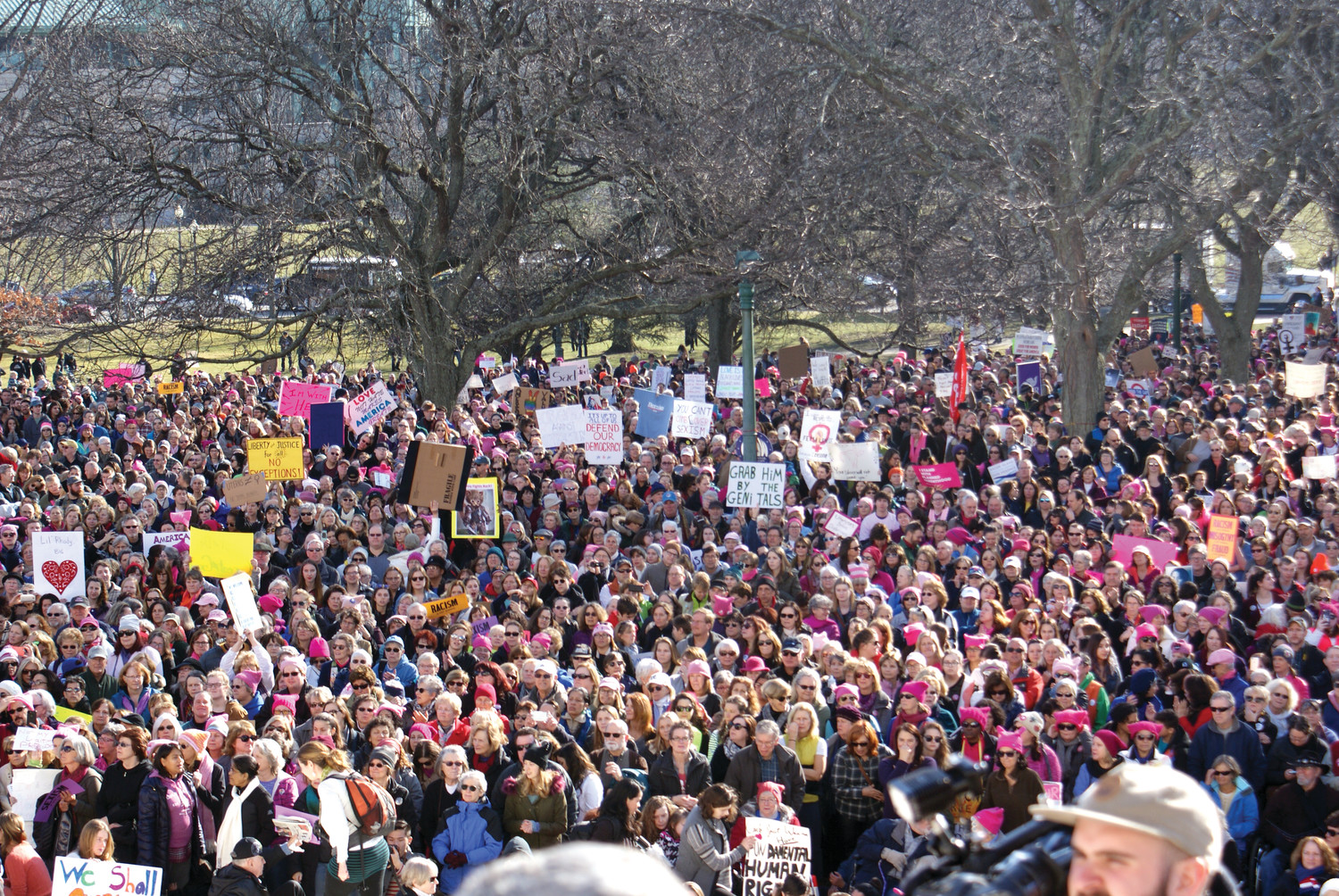WOMEN'S MARCH THIS WEEKEND: Taken at the RI State House steps is last year's RI Women's March that echoed those in Washington, D.C. and across the globe. The march will be held Jan. 20 from noon to 2 p.m. on the South Lawn of the State House.