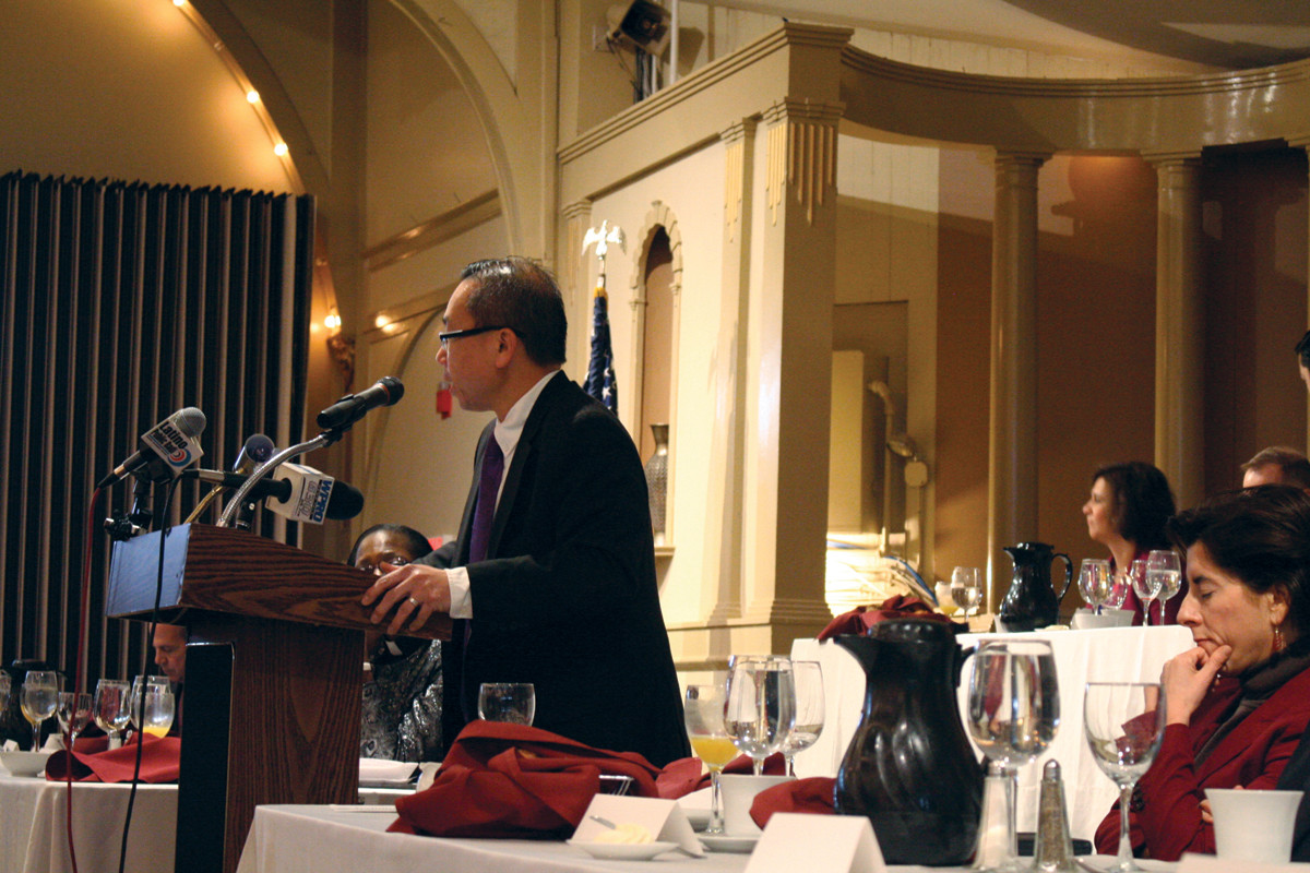 ELEPHANT IN THE ROOM: Mayor Allan Fung spoke in support of the scholarship recipients and honored MLK Jr. in his speech, also pointing out that he was one of the few Republicans at the event.