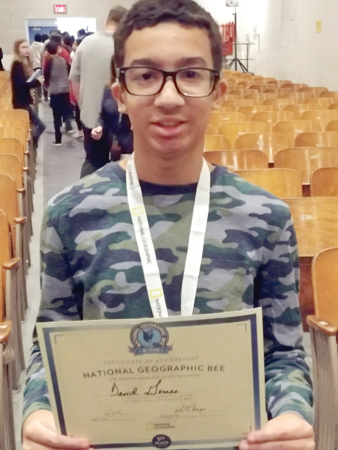 AND THE CHAMPION IS: Seventh-grader David Gomes was named the school's first-place winner in this year's National Geographic Bee, and will go on to the state level competition, representing Park View Middle School.