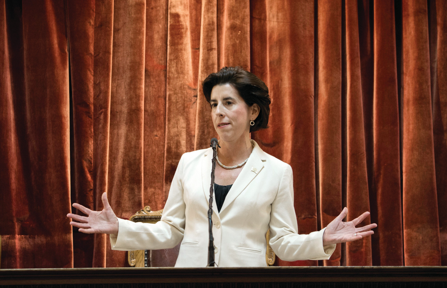IT'S ALL GOOD: Gov. Gina Raimondo highlighted the state economy in her State of the State address Tuesday.