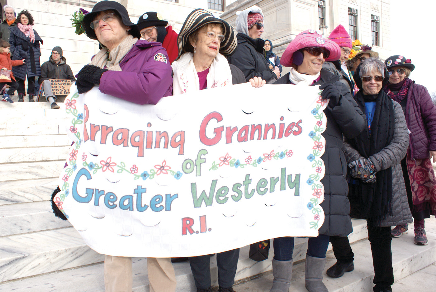 RAGGING GRANNIES: The Raging Grannies of Greater Westerly came out in force at the Women' March RI Rally in support of the movement.
