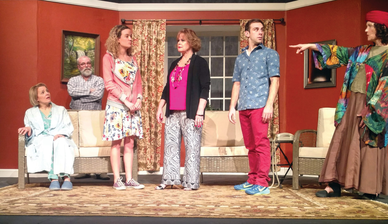 "ALL IN THE FAMILY: Roger Lemelin, Sharon Carpentier, Nick Autielo, Kristen McGuirk star in ""Vanya and Sonia and Masha and Spike,"" at the Barker Playhouse in Providence through Jan. 28."