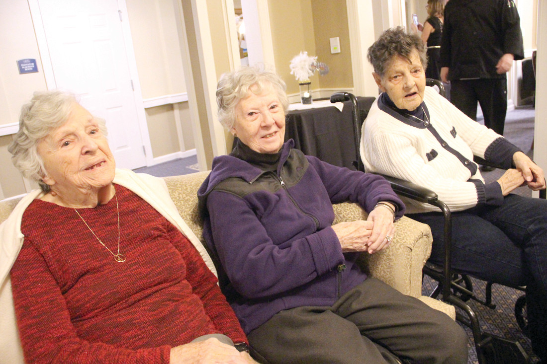 THE ORIGINALS: Claire Hamel, Peggy Delaney and Kathleen Lonergan all moved to the assisted living facility on Toll Gate Road the day it opened a year ago.