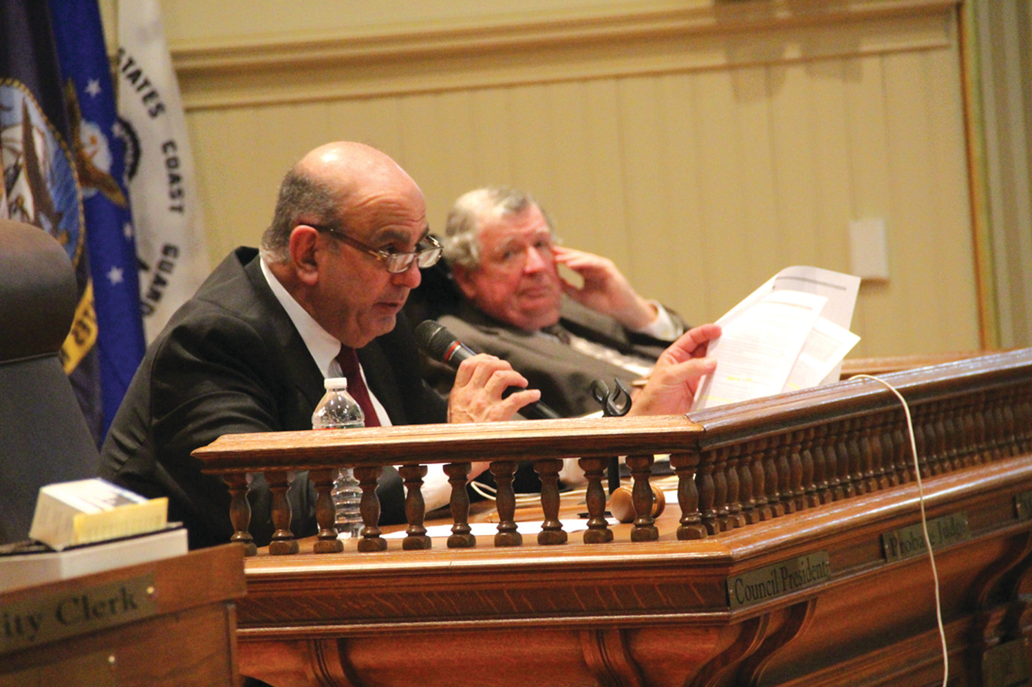 QUESTIONING: Council President Joseph Solomon at Tuesday's meeting.