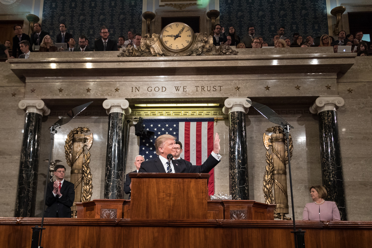 President Donald Trump delivers the Address to Congress on Tuesday, February 28, 2017, at the U.S. Capitol.  This is the President's first Address to Congress of his presidency.
