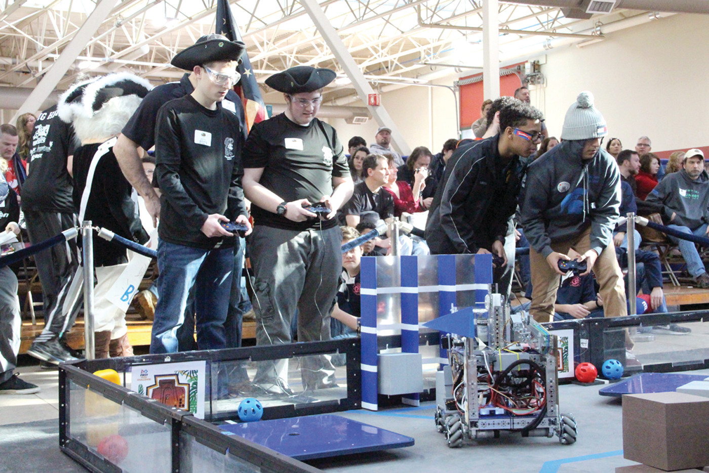 IN THE RING: Robots compete to complete a series of tasks within a time period before spectators and judges.