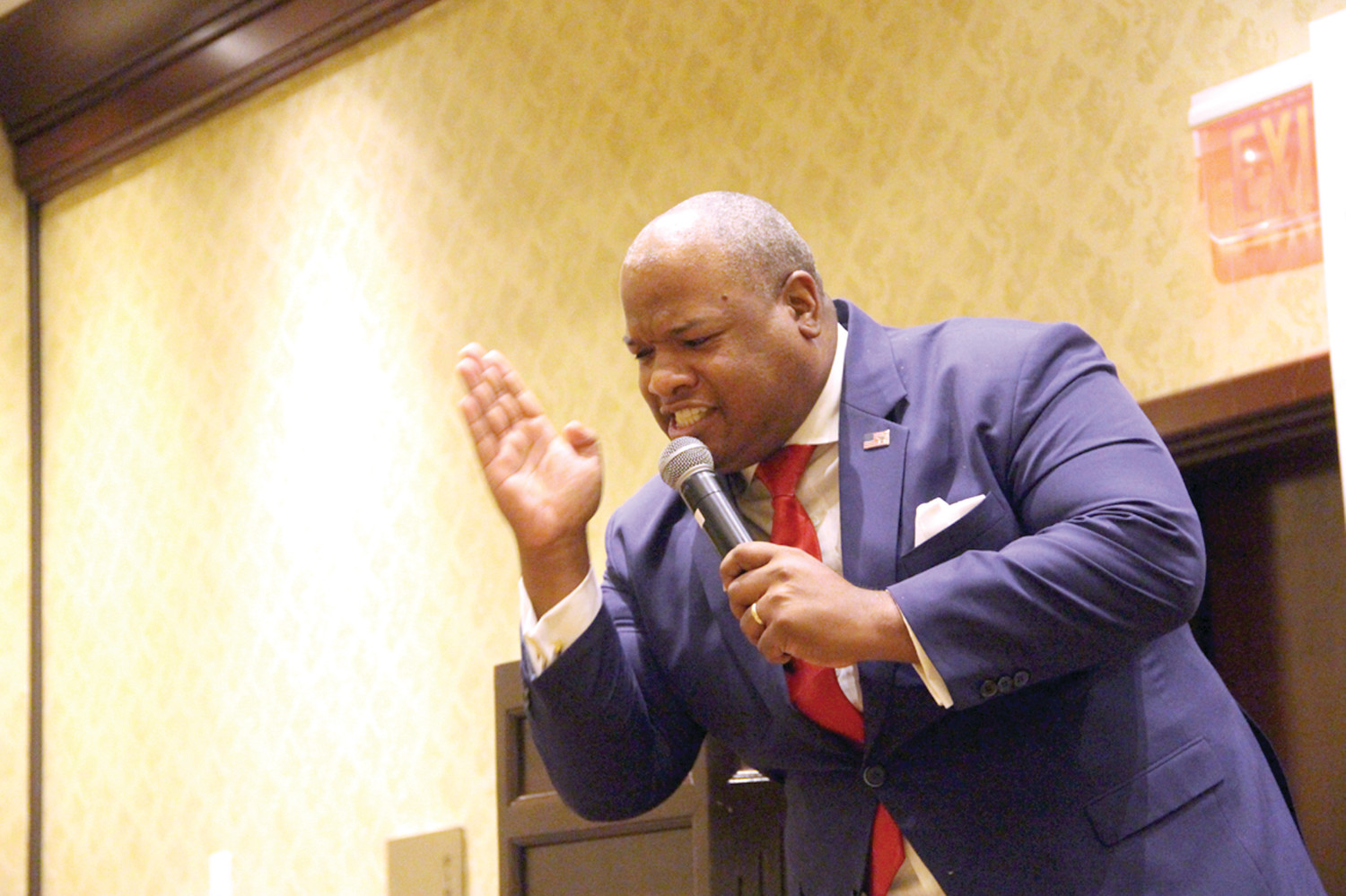 "TRUMP SUPPORTER: Mark Burns, Trump's ""top pastor,"" spoke at Joe Trillo's campaign event Friday at the Crowne Plaza."