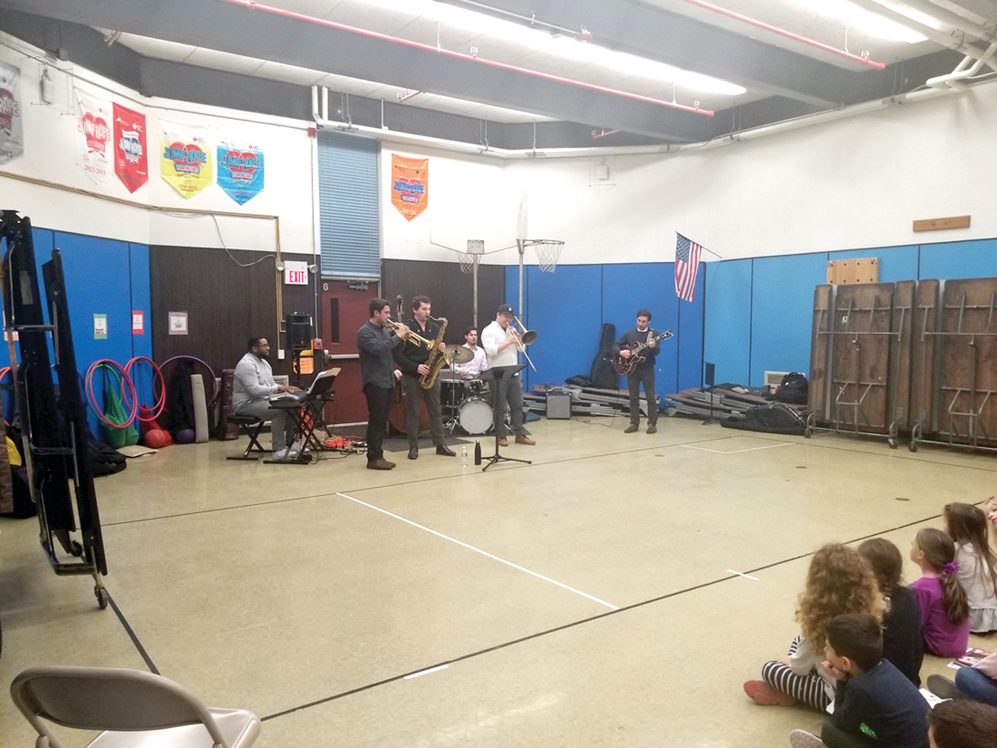 AND ALL THAT JAZZ: Members of the Newport Jazz Assembly band entertain the students of Oaklawn Elementary school on Tuesday, January 23.