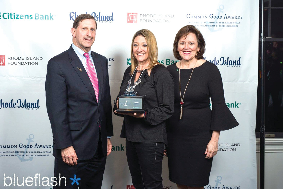 MIGHTY MOMENT: Christina Rondeau is joined by Neil D. Steinberg, President/CEO of the Rhode Island Foundation and Barbara S. Cottam, Executive Vice President/Head of Corporate Affairs at Citizens Bank that was among the sponsors of the recent Common Good Awards Reception. (Submitted photo)