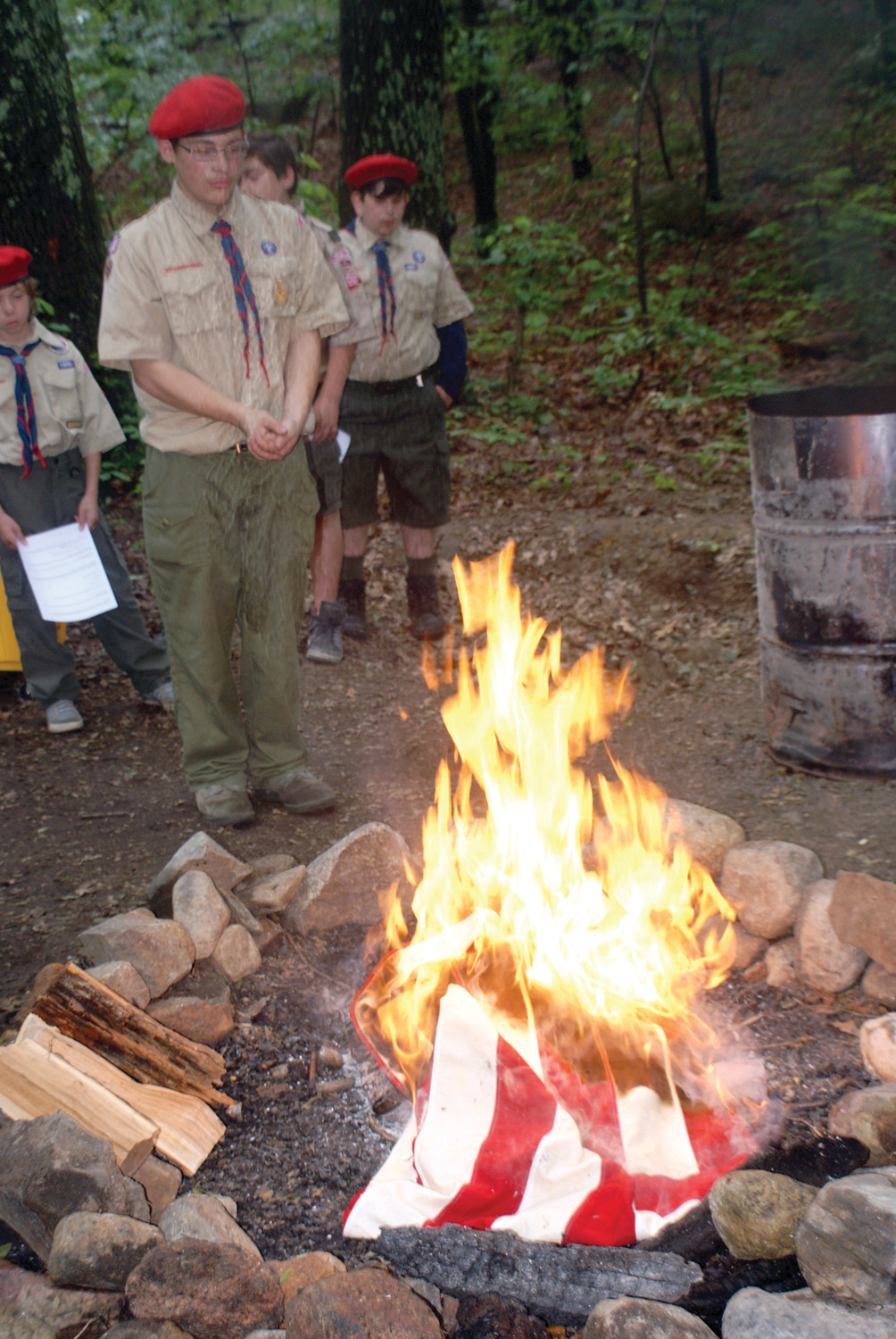 THE EAGLE PROJECT: On June 17, 2017 at 10 a.m., Nicholas Bombardier, of Troop 66 Garden City, completed his Eagle Project.  He held a Flag Retirement ceremony at Camp Champlin in Cranston. After a U.S. flag is retired in a ceremony they are then burned as custom.
