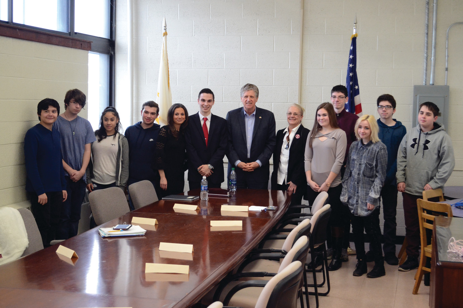 ROUNDTABLE TALK: Lt. Governor Daniel McKee stopped by Pilgrim High School on Tuesday, Feb. 6 to have a discussion with the Pilgrim Political Involvement Club.