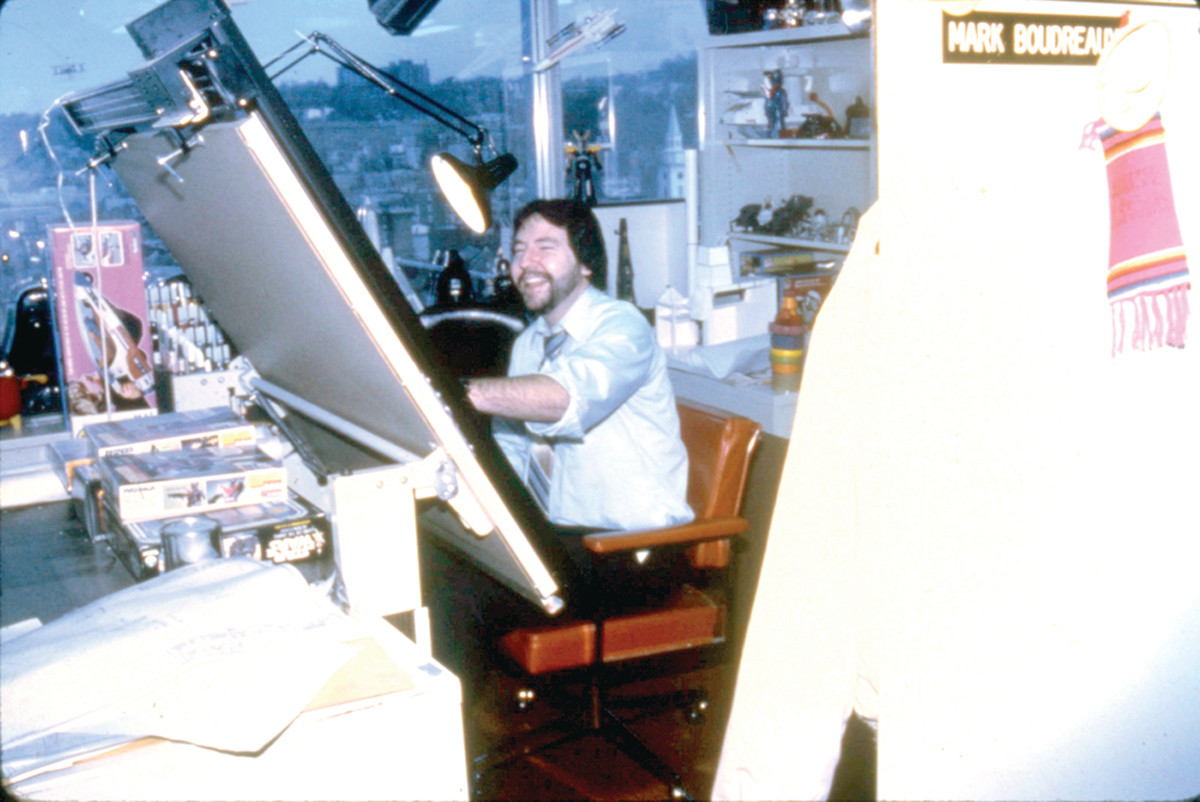 Mark Boudreaux works in his office at Kenner in the mid 1980's. Before technology, every design had to be hand drawn.