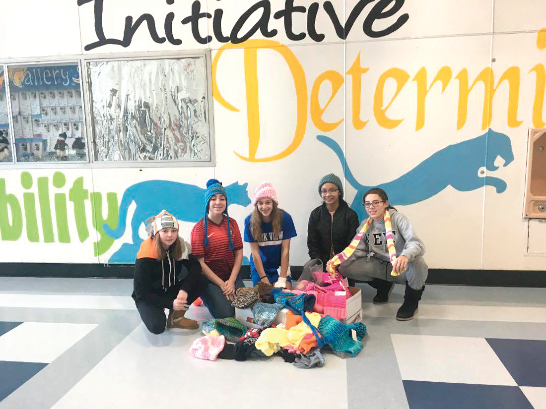 A SUCCESSFUL DRIVE: The students who are part of the Park View Middle School National Junior Honor Society ran a successful drive that brought in more than 100 items of warm weather gear for those in need.
