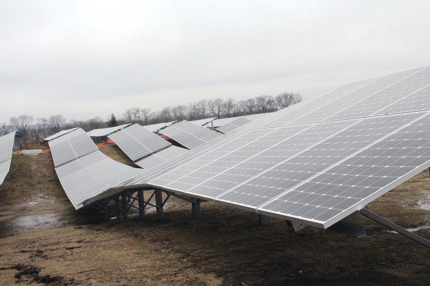 THE FUTURE: These types of solar panels, from a picture taken at the new solar farm across from T.F. Green Airport in Warwick, represent a new type of growth happening in Western Cranston.