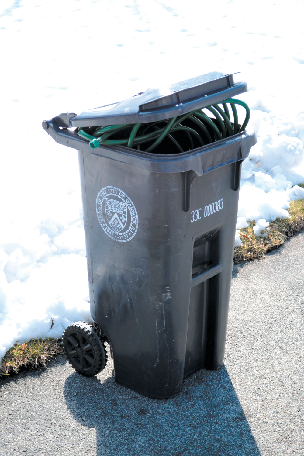 SOME ROUTES HOSED? A waste bin prior to being      emptied on Monday. The city warned last week some routes may not get picked up during their regularly scheduled times due to a limited number of functional vehicles.