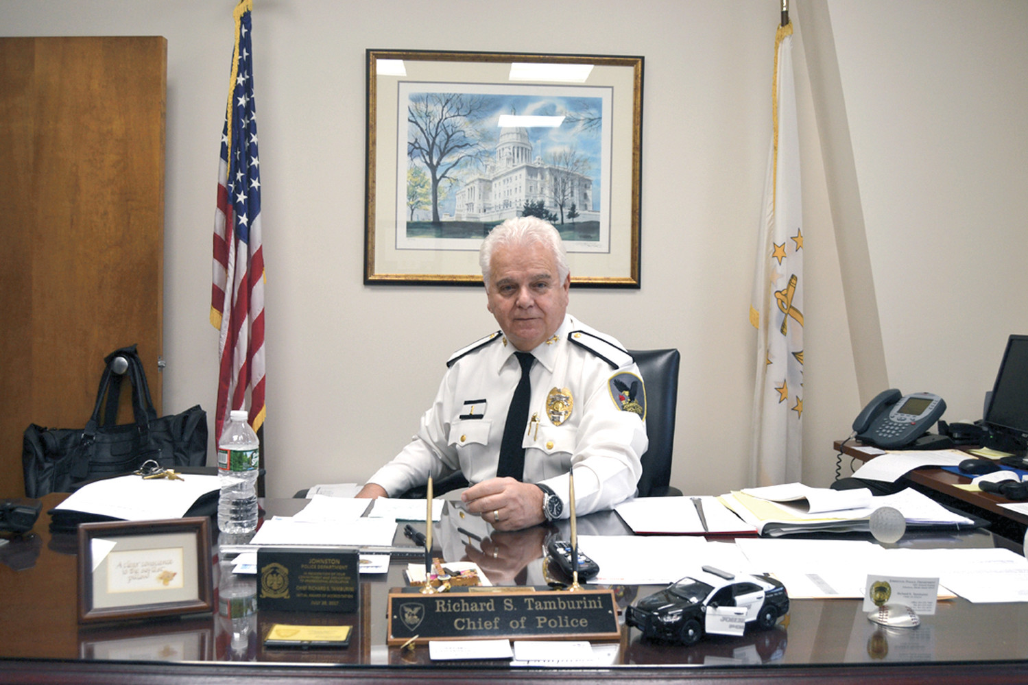 WE'RE READY: Johnston Police Chief Richard S. Tamburini believes the department's strict protocols and demanding training schedules provide the resources officers need to protect Johnston's schools.