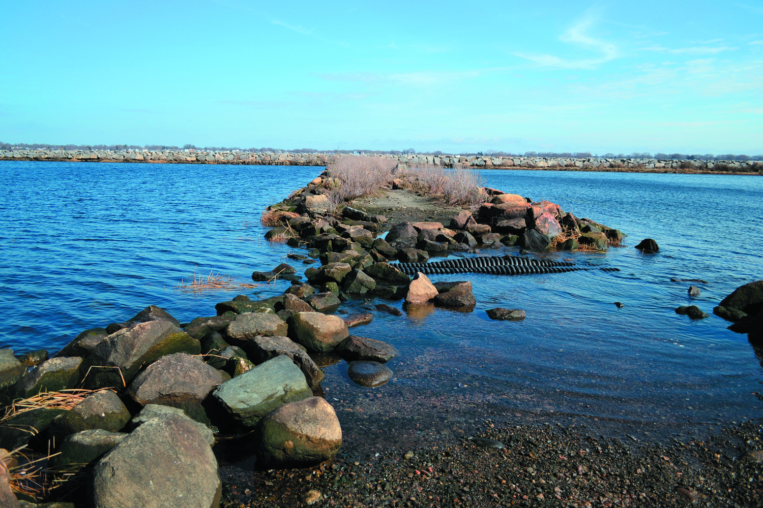 ON THE ROCKS: Two perilous sections of the jetty leading out to the breakwater are shown here, which could be remedied by a new causeway – the focus area of a new RFP released by the city.