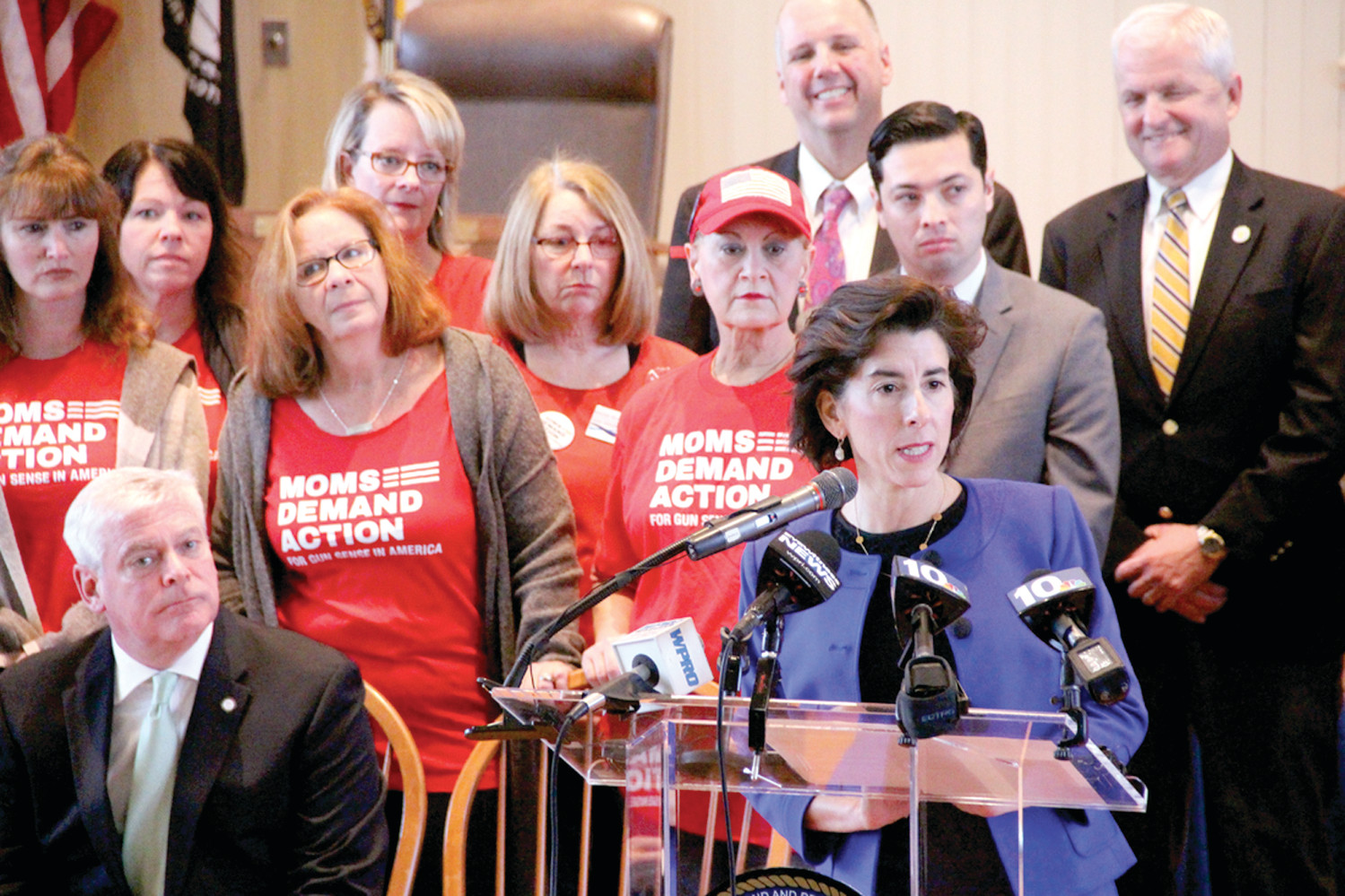 PREVENTING TRAGEDIES: Governor Gina Raimondo, along with state law enforcement and local municipal leaders declared the executive order establishing Red Flag protocols in Rhode Island as a common sense measure that will prevent tragedies by way of gun violence.