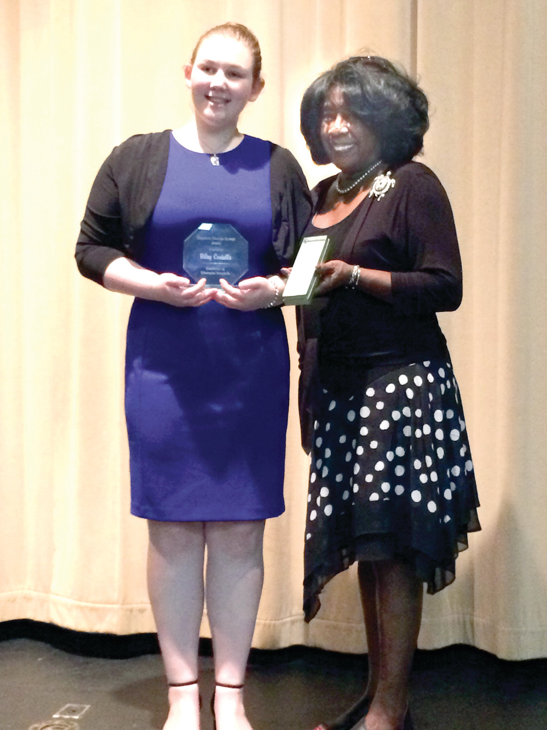 SOUTHERN HOSPITALITY: Riley Costello stands with Dee Dee Wright, goddaughter of Elizabeth Duncan Koontz, at the Salisbury Human Relations Council annual Elizabeth Duncan Koontz Humanitarian Awards Banquet, held on Feb. 22 in Salisbury, N.C.