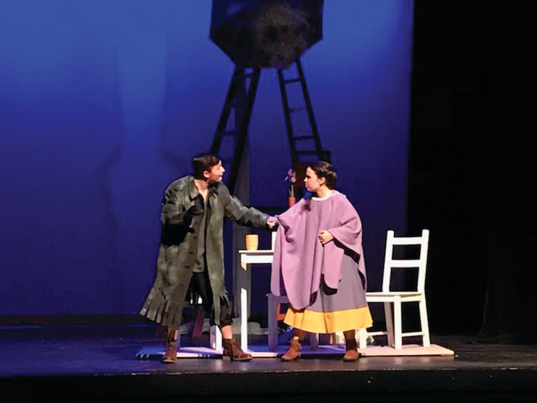 "DEBUT READY: Zachary McGetrick as Dad/Man/Mr. Matternot, and Zoe Sadwin as Iris, during a rehearsal for Cranston High School West's rendition of ""Still Life With Iris,"""