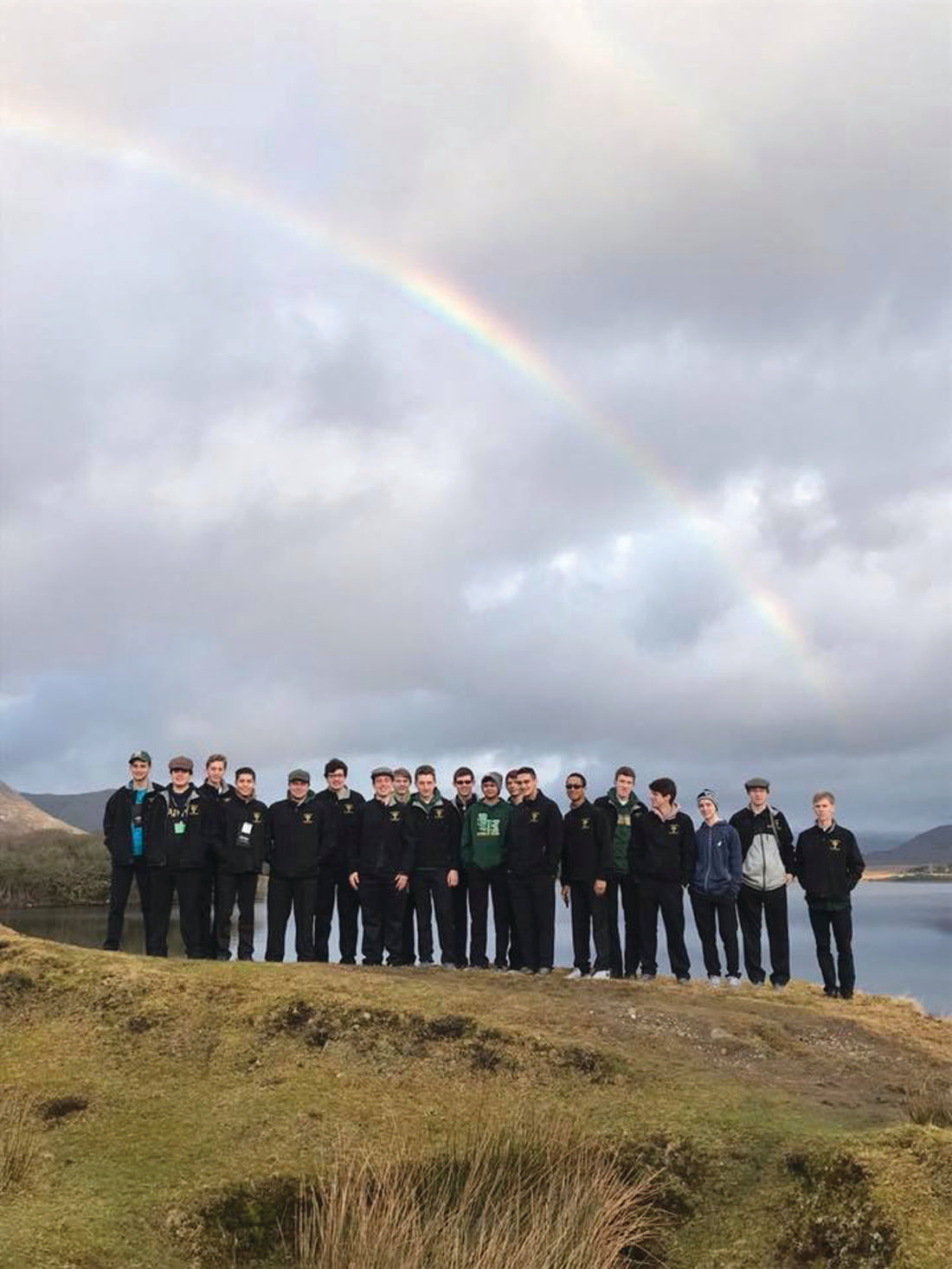 PERFECT SETTING: Hendricken's Young Men's Chorus find the ideal setting for a group picture during their recent pilgrimage tour to Ireland.