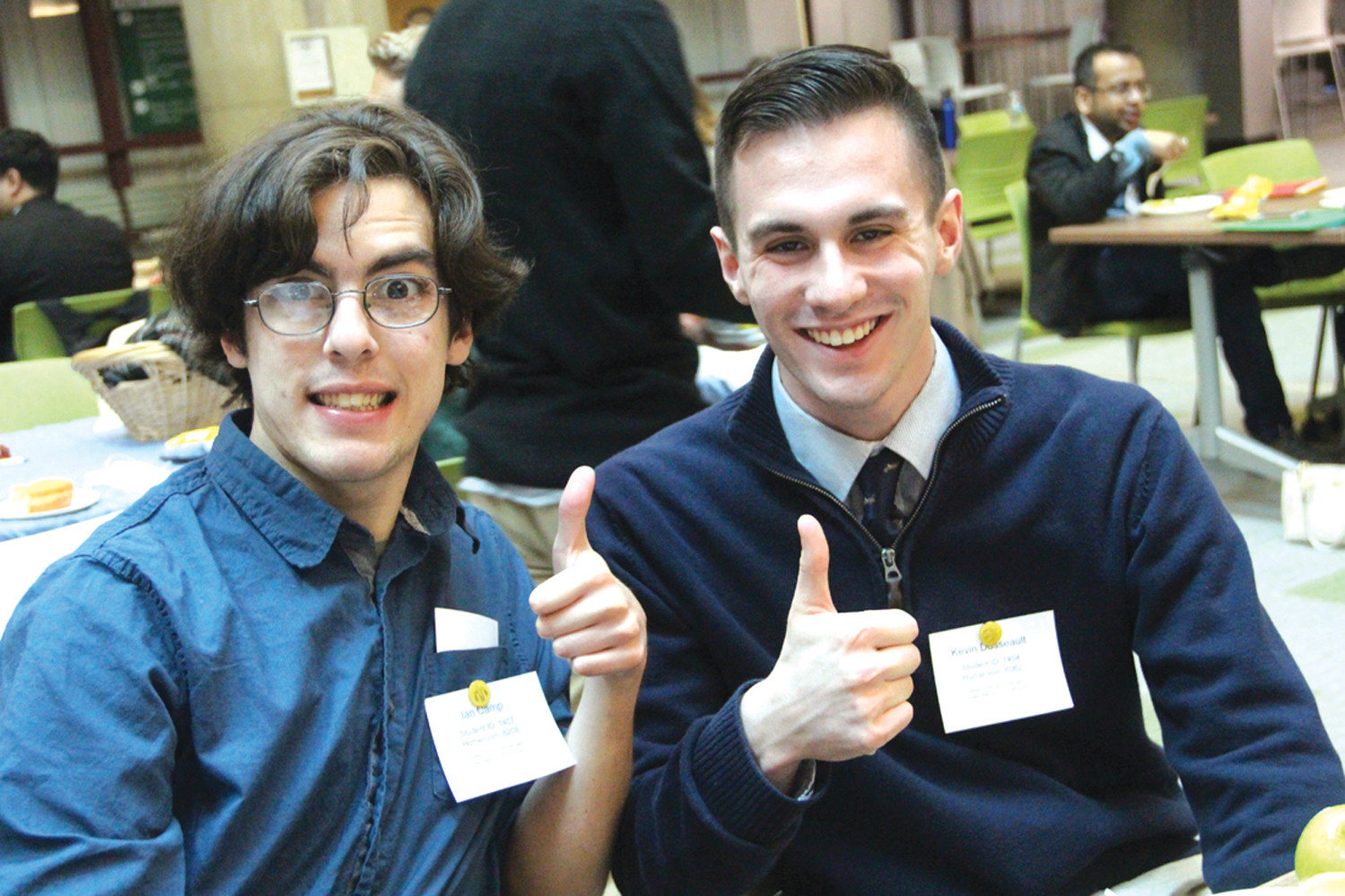 PILGRIM DUO: While they had less than a full team of nine, Ian Camp and Kevin Dusseault of Pilgrim competed in the RI Academic Decathlon held Sunday at the Knight Campus of CCRI.