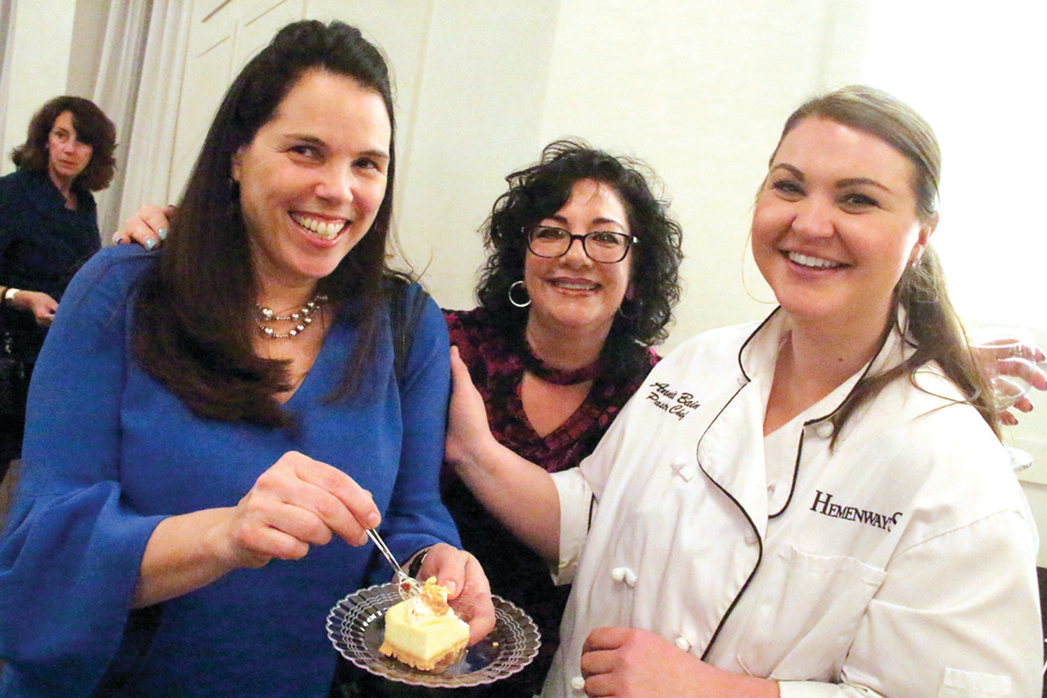 THE SAMPLER: Tempie Thompson and Carla Mannie are joined by Hemeny's pastry chef Annie Bain to share in bites of Bain's cheesecake with Girl Scout cookie crust.