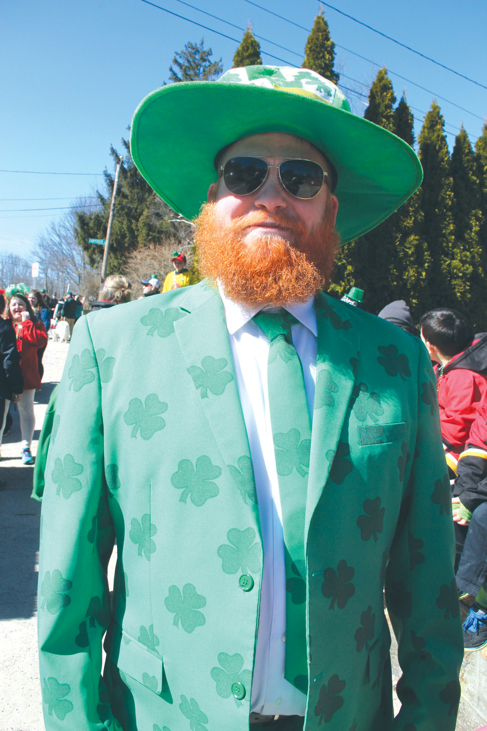 MISTER GREEN: Sean Patrick Feeney got into the spirit and the attire for the celebration.