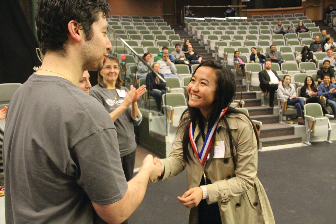 GOLD MEDALIST: Allison Vang of Cranston West Team 1 took home a gold medal in the Varsity division for Speech during the RI Academic Decathlon Sunday.