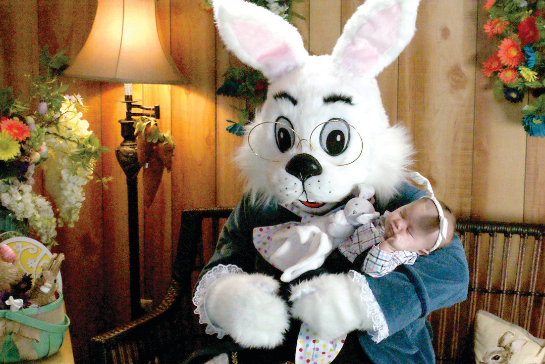 YOUNGEST VISITOR: Perhaps the youngest visitor to meet the Easter Bunny in Garden City this past Sunday was 6-week old Jonathan Bailey.