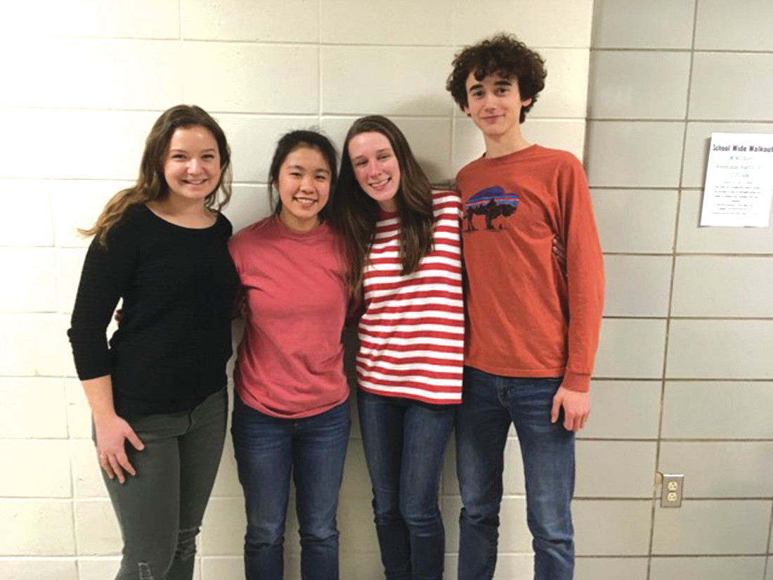 STUDENTS LEADING THE WAY: From left to right at Cranston East are student leaders Emma Boucher, Shevanna Yee, Darien DiNaro and Nathaniel Hardy, who have been instrumental in organizing Wednesday's memorial walk-out.