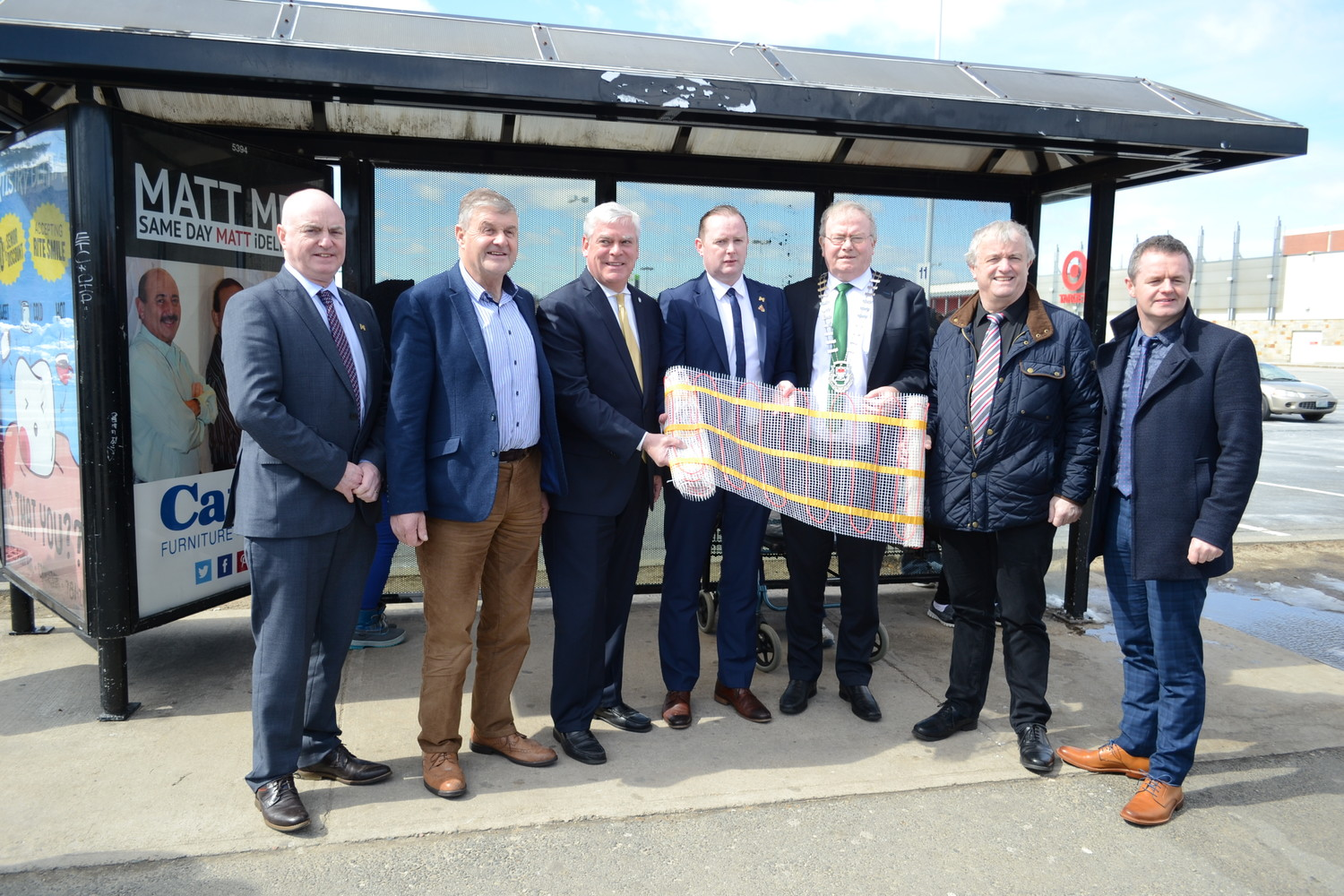 BUS STOP PHOTO OP: (l-r) - Peter Hynes, Chief Executive, County Mayo; Mayo County Councillor Michael Holmes, Mayor Avedisian; Brian Hopkins, CEO, ezewarm;  County Mayo Mayor Richard Finn; Mayo County Councillor Gerry Coyle; John Magee, Head of Local Enterprise Office (LEO) Mayo